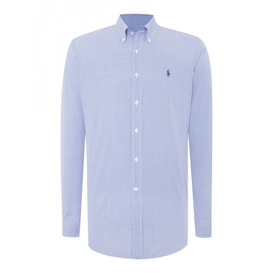 Ralph Lauren men's Slim Fit Gingham Dress Shirt Royal