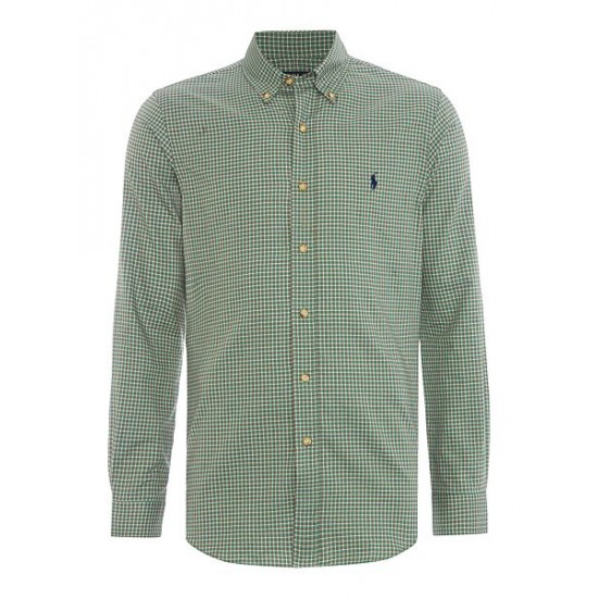 Ralph Lauren men's Slim Fit Checked Twill Shirt Emerald