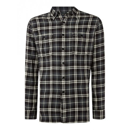 Ralph Lauren men's Custom Fit Twill Check Shirt Black Grey