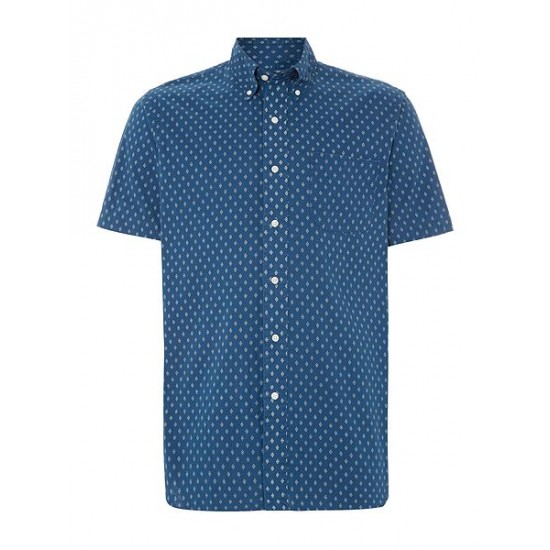 Ralph Lauren men's Print Classic Fit Short Sleeve Shirt Indigo
