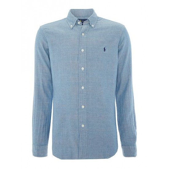 Ralph Lauren men's Long Sleeve Slim Fit Checked Shirt Chambray