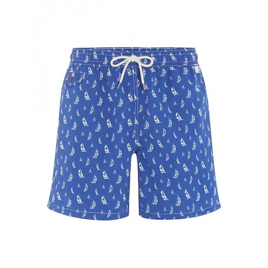Ralph Lauren men's Swim Shorts With Sail Boat Print Turquoise