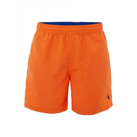 Ralph Lauren men's Mid Length Logo Swim Shorts Orange