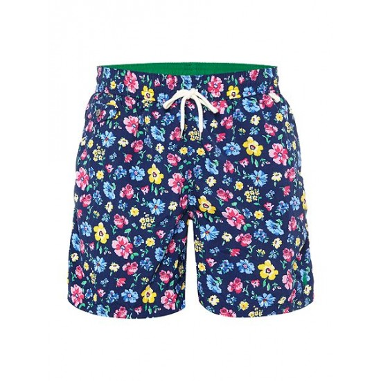 Ralph Lauren men's Floral Print Swim Shorts Navy