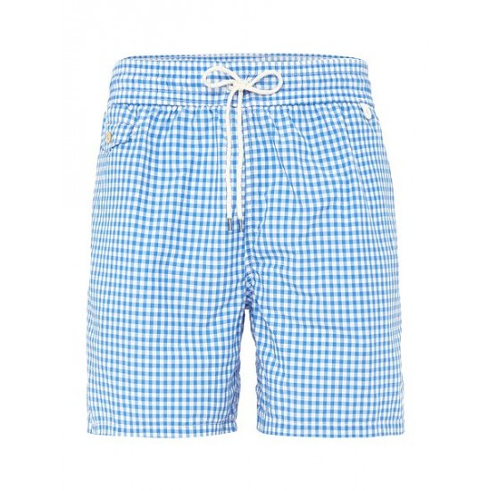 Ralph Lauren men's Gingham Print Swim Shorts Blue