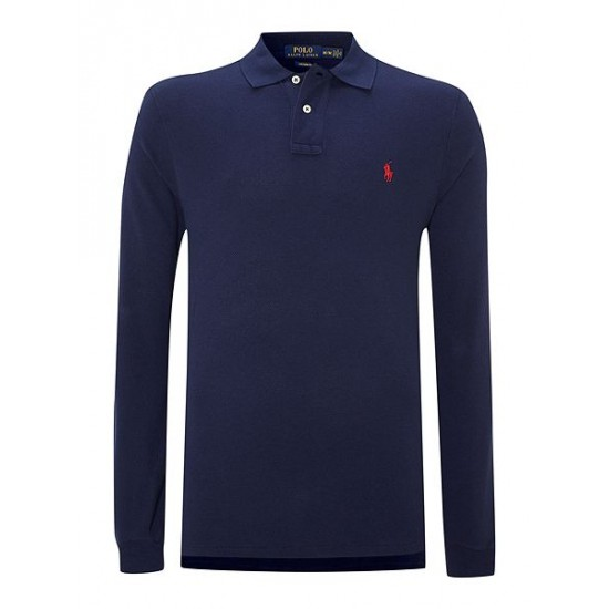 Ralph Lauren men's Custom Fit Long Sleeve Polo Shirt Navy