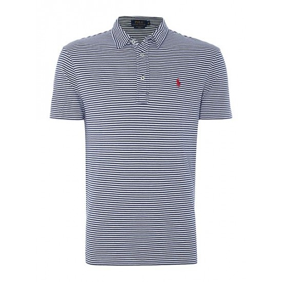 Ralph Lauren men's Custom Fit Featherweight Stripe Mesh Polo Navy