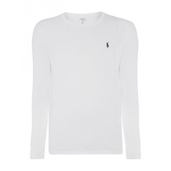 Ralph Lauren men's Custom Fit Crew Neck Long Sleeve T Shirt White