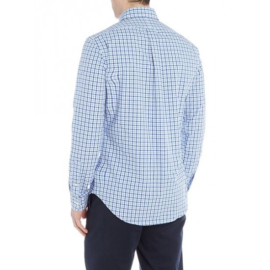 Ralph Lauren men's Long Sleeve Slim Fit Poplin Check Blue