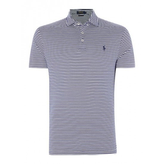 Ralph Lauren men's Custom Fit Pima Cotton Stripe Polo Royal Blue