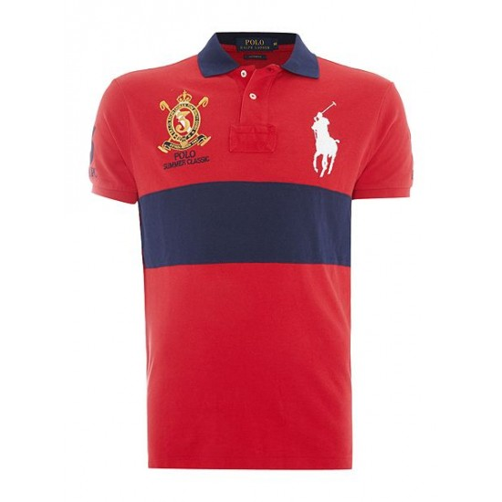Ralph Lauren men's Custom Fit Big Polo Player Crest Logo Polo Red