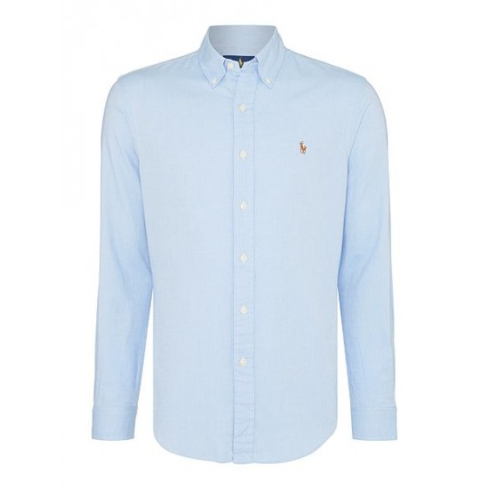 Ralph Lauren Long Sleeve Slim Fit Oxford Chambray Shirt Light Blue