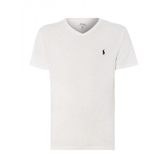 Ralph Lauren men's Short Sleeve V Neck T Shirt White