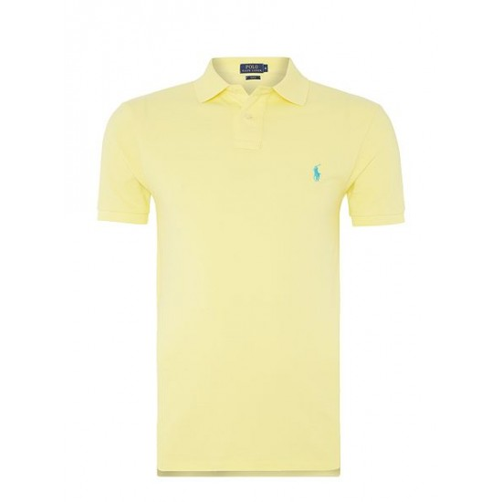 Ralph Lauren men's Basic Mesh Slim Fit Short Sleeve Polo Lemon