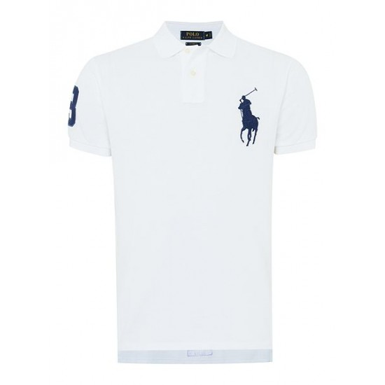 Ralph Lauren men's Custom Fit Big Pony Polo Shirt White