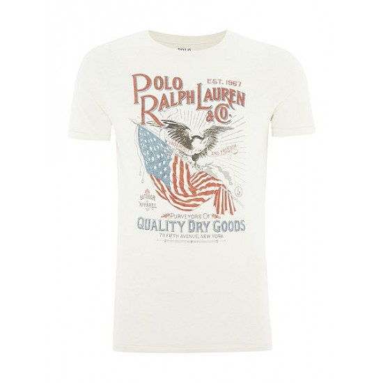 Ralph Lauren men's Usa Flag Graphic Crew Neck Tshirt White