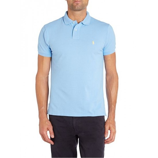 Ralph Lauren men's Custom Fit Mesh Polo Shirt Sky Blue