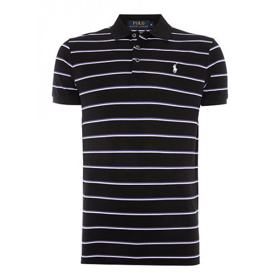 Ralph Lauren men's Short Sleeve Custom Fit Stretch Stripe Mesh Black