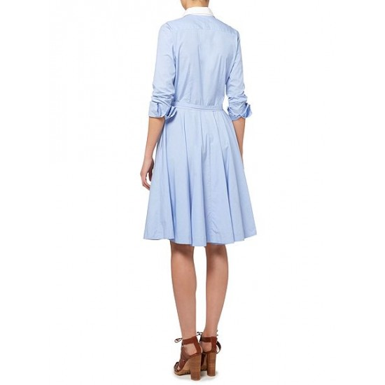 Ralph Lauren Women's Dori Long Sleeve Shirt Dress With White Collar Blue