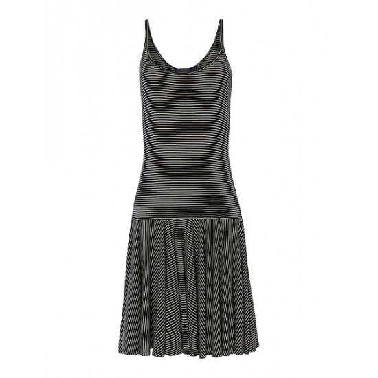 Ralph Lauren Women's Strappy Dress With Stripe Print Black White
