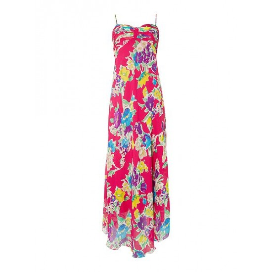 Ralph Lauren Women's Maxi Floral Print Dress Pink