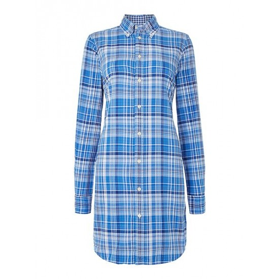 Ralph Lauren Women's Long Sleeved Checked Shirt Dress Blue