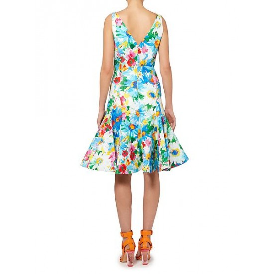 Ralph Lauren Women's Floral Fit And Flare Dress Multi Coloured