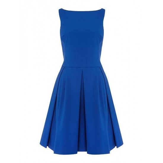 Ralph Lauren Women's Babette Dress With Pleated Skirt Blue