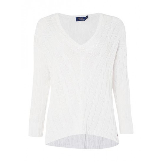 Ralph Lauren Women's Long Sleeve V Neck Side Slit Jumper White