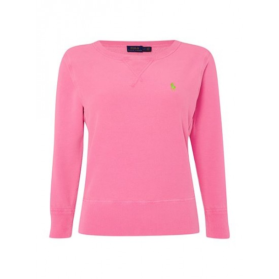Ralph Lauren Women's Long Sleeve Crew Neck Sweater Pink
