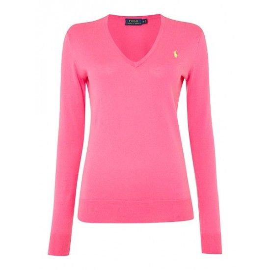 Ralph Lauren Women's Long Sleeve V Neck Jumper Pink