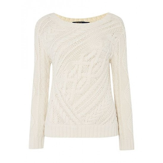 Ralph Lauren Women's Long Sleeve Crew Neck Jumper Cream