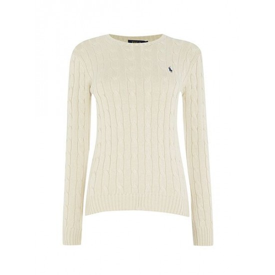 Ralph Lauren Women's Long Sleeved Crew Neck Knitted Jumper Cream