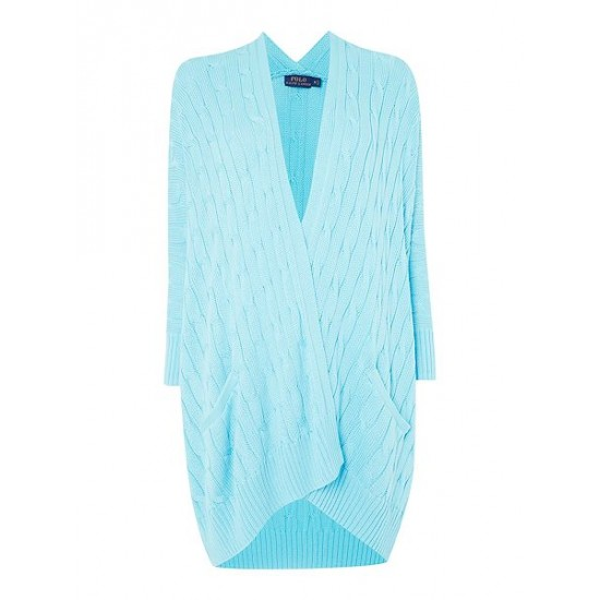 Ralph Lauren Women's Long Sleeve Cable Knit Cardigan Turquoise