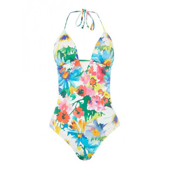 Ralph Lauren Women's Daisy Floral Keyhole One Piece Swimsuit Multi Coloured