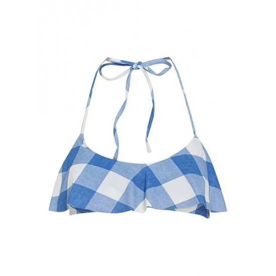 Ralph Lauren Women's Large Gingham Flutte Blue