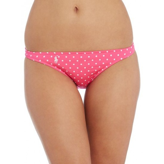 Ralph Lauren Women's Pin Dots Taylor Hipster Bikini Brief Pink