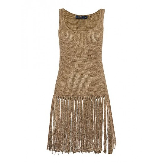 Ralph Lauren Women's Longline Gold Fringe Top Gold Metallic