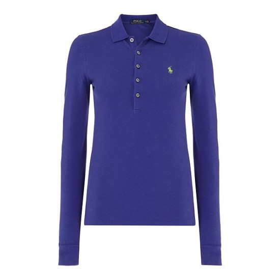 Ralph Lauren Women's Julie Long Sleeve Mesh Polo Purple