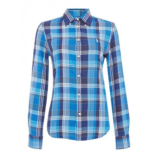 Ralph Lauren Women's Georgia Long Sleeve Check Shirt Blue