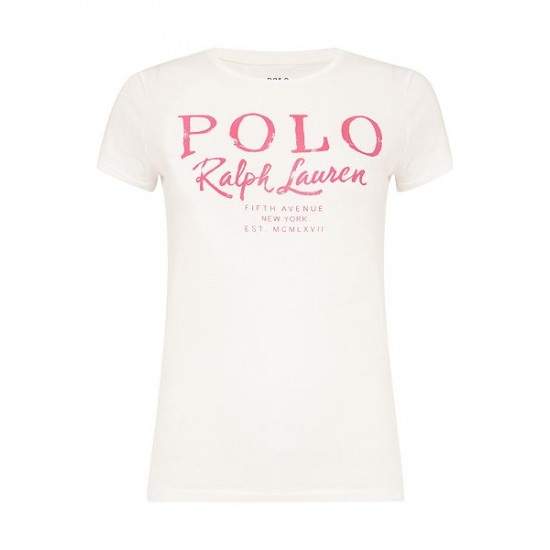 Ralph Lauren Women's Holly Logo T Shirt White Dicount Uk