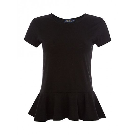 Ralph Lauren Women's Peplum T Shirt Black