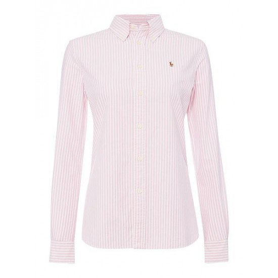 Ralph Lauren Women's Harper Long Sleeve Stripe Shirt Pink