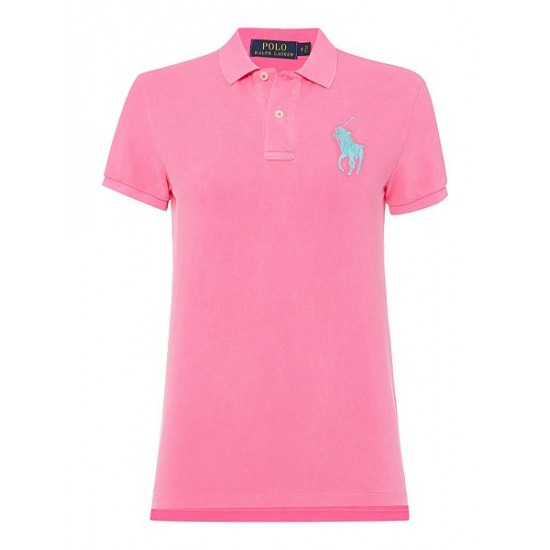 Ralph Lauren Women's Short Sleeve Big Pony Polo Top Pink