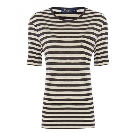 Ralph Lauren Women's Short Sleeve Striped Tee Black White